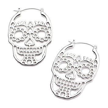 20g 316L Surgical Steel Silver Casted Cutout Skull WildKlass Plug Hoops