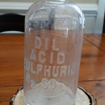 Vintage Apothecary Bottle With Glass Stopper Dil Acid Sulphuric H2 SO4 Pharmacy Chemist Laboratory