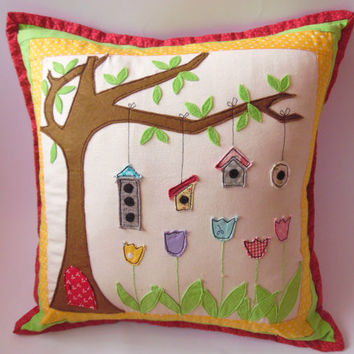 Applique Pillow,Tree Applique Cover, Kids Decor,Nursery Pillow Cover,Cushion Cover,AppliqueCover, Dacorative Pillow