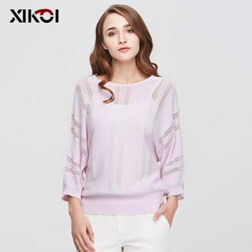 New Casual Women Sweaters Clothes Fashion Batwing Sleeve Pullovers Solid O-Neck Thin Women's Sweater Pullover Clothing