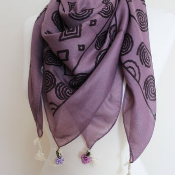 Purple Aztec Scarf, Tribal Scarf, Boho Hair Wrap, HairWrap, Dread Wrap, Geometrical Print, Head Scarf, Hair Band, gypsy scarf Festival scarf