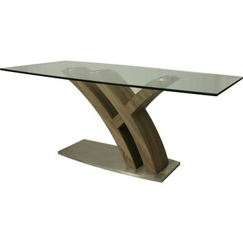 "Quanto Basta 70"" x 38"" Dining Table Stainless Steel Sonoma Veneer Glass Top"