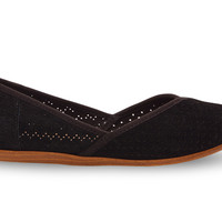 TOMS Black Suede Perforated Women's Jutti Flats Black