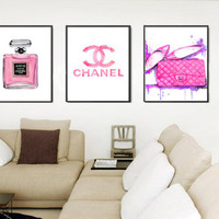 Chanel Print Fashion Print Art Set. Set of 3 Watercolor Perfume Print, bag print, Chanel symbol print, Coco perfume print Pink Art print