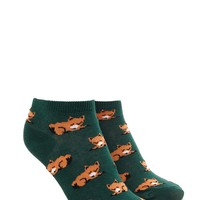Fox Print Ankle Socks