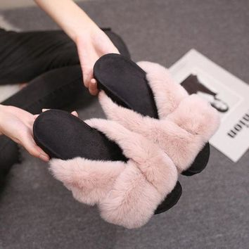 ac PEAPON Shoes Korean Rabbit Flat Autumn Strong Character Slippers [79792504857]