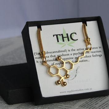 THC Molecule Necklace 24K GOLD