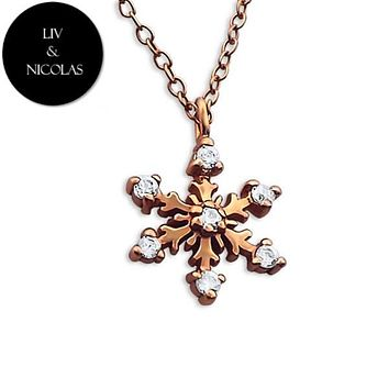 Solid 925 Sterling Silver + 14K Rose Gold Plated Cubic Zirconia Snowflake Necklaces