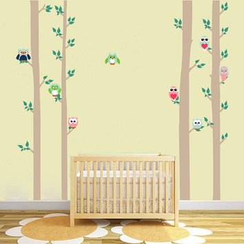 cik1678 Full Color Wall decal bedroom children's Custom Baby Nursery tree nusery decal tree forest owl birds