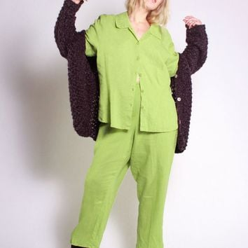 Lime Green Linen Lounge Set / L XL