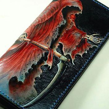Handmade Long leather wallet men death angle tooled carved long wallet for him