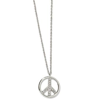 Silver-tone Crystal Peace Symbol 16 w/ext Necklace