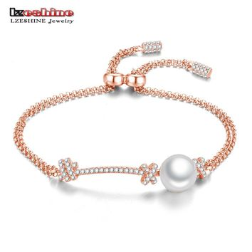 LZESHINE Real 925 Sterling Silver Pearl Charm Bracelets Christmas Gift For Women Fine Brand Jewelry AAA CZ Bracelet & Bangles