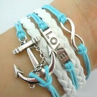 MBOX Vintage Silver Infinity Bracelet Love Nautical Anchor Skyblue Rope White Leather