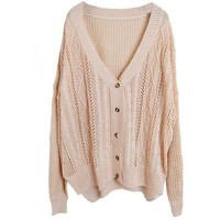 Hollow Out V Neck Beige Sweater$46.00