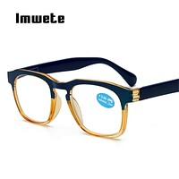 Imwete Glasses Printed Legs Reading Glasses Women Optical Prescription Eyeglasses Men Full mirror Frame Glasses for Reading