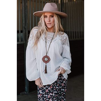 Daydreaming Crochet Top - White