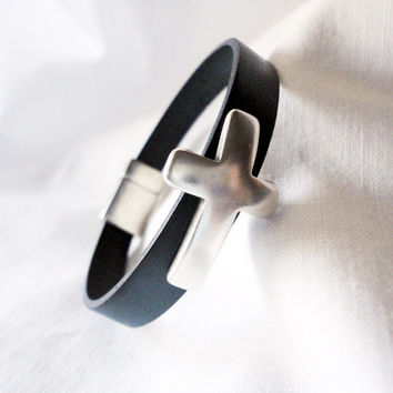 Silver plated cross bracelet, men bracelet, women bracelet, genuine leather