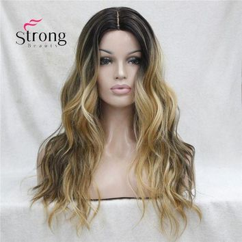 LMF78W Long Heat Resistant Dark Brown With Golden Blonde Three Tone Ombre Wavy Synthetic Lace Front Long Wig COLOUR CHOICES