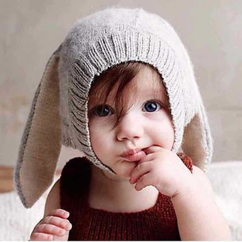 2017 Baby hat Toddler Kids Boy Girl Knitted Crochet Rabbit Ear Beanie kids Winter hat Warm Hat Cap christmas gift fotografia