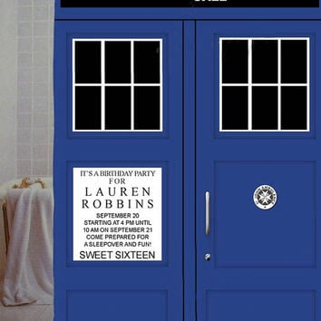 "tardis police dr who door Custom Shower Curtain available size 66"" x 72"", 60"" x 72"",48"" x 72"""