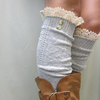 Swiss  LACE BOOT SOCKS Silver grey / European styling for  tall boots -  over knee cable knit  womens Catherine Cole Studio / made in usa