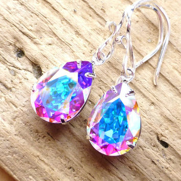 Aurora Borealis Swarovski Crystal Drop Earrings, Bridal Rhinestone Pear Earrings, Wedding, Sterling Silver, Prism Earrings, Christmas Gift