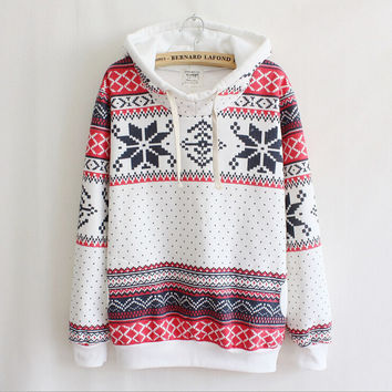 Boho Ethnic Pattern Print Top Sweater Pullover Hoodie