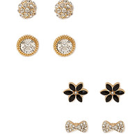 FOREVER 21 Rhinestone Stud Set Gold/Black One