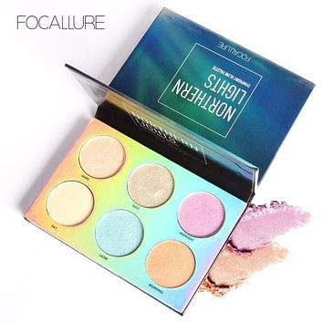 Focallure 6 Colors Face Highlighter Palette Northorn Lights Bronzer Symphony Glow Face Contour Powder Makeup Set Concealer Macchar Cosplay Catalogue