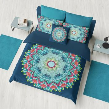 Dark Teal Geometric Mandala Flower Duvet Cover or comforter -  complex geometric mandala bedding