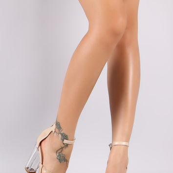 Bamboo Lucite Inset Triple Straps Chunky Perspex Heel
