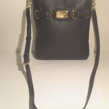 DCCKW7H NWT Michael Kors Hamilton Black Leather Crossbody MK Messenger bag Purse Handbag