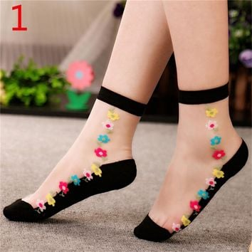1Pair Women Flower Lace Ankle Sock Soft Sheer Silk Cotton Elastic Mesh Knit Transparent Ankle Socks
