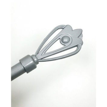 Adjustable Metal Curtain Rods With Crown Staff Finial- Esty- Silver