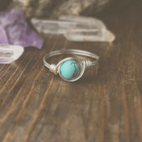 Silver Turquoise ring - bohemian jewelry - wire wrapped ring - unique rings - boho rings - cute rings - gypsy rings - bohemian rings