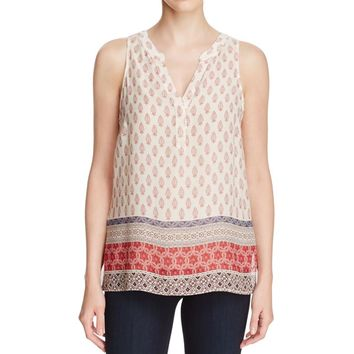 Sanctuary Womens Pattern Blouse Tank Top