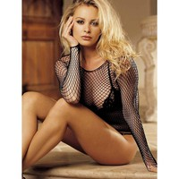 Shirley of Hollywood IS-SOH-90053 Sexy Long Sleeve Fishnet Top