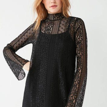 UO Mock Neck Lace Shift Dress | Urban Outfitters