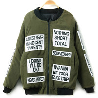 Military Green Letter Print Long Sleeve Bomber Jacket