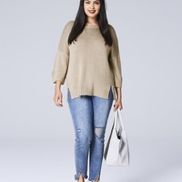 Drop Shoulder Jumper With Pu Back Zip | SimplyBe US Site