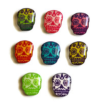 Sugar Skull Shrink Plastic Stud Earrings -You can choose from Yellow&Pink, Lime Green or Purple-