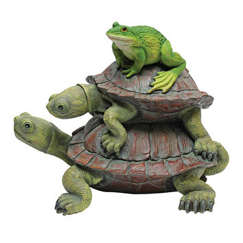 Park Avenue Collection Two Turtles Stacked With Frog