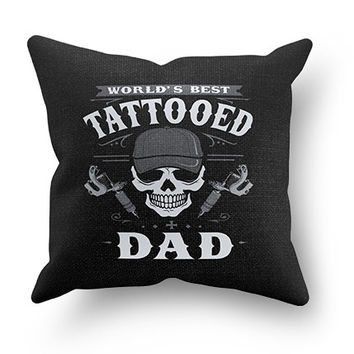 Worlds Best Tattooed Dad Pillow Cover