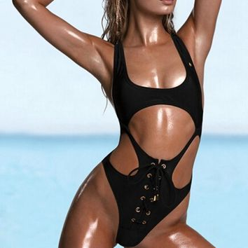 High cut one piece swimsuit sexy thong bandage bathing suit