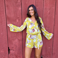 Sundee Brunch Romper in Chartreuse Yellow