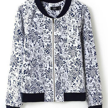 Blue and White Floral Print Cuff Sleeve Jacket