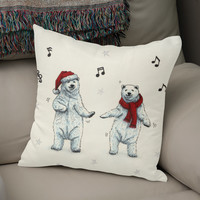 «The polar bears wish you a Merry Christmas», Numbered Edition Coussin by Savousepate - From 25€ - Curioos