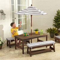 Outdoor Table and Bench Set Gray and White