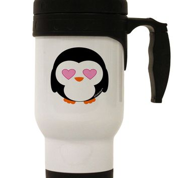 Cute Penguin - Heart Eyes Stainless Steel 14oz Travel Mug by TooLoud